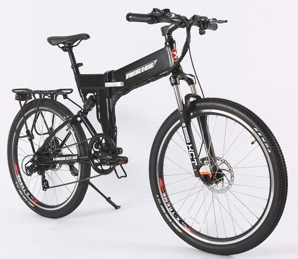 X-Treme X-Cursion Elite Max 36 Volt Folding Full Suspension Mountain eBike Black Right Side Angle