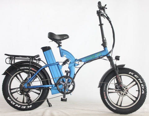 Green Bike USA GB750 Mag Fat Tire Full Suspension Folding eBike Blue Right Side