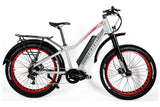 Biktrix Juggernaut Ultra 1000W Pro Fat Tire Mid-Drive eBike Cement Grey Red Wheels Right Side