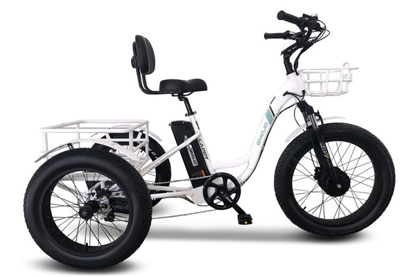 Emojo Caddy Pro Fat Tire 500W 48V Electric Tricycle White Right Side