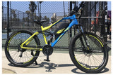 Emojo Cougar 500W 48V Full Suspension Mountain eBike Blue Right Side Lifestyle