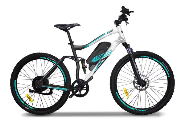 Emojo Cougar 48V 500W Full Suspension Mountain eBike White Right Side