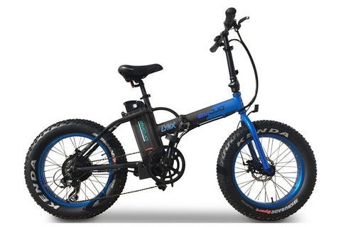 Emojo Lynx Fat Tire Folding 500W eBike Black and Blue Right Side