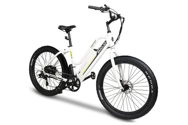 Emojo Panther 500W 48V Hybrid Cruiser Step-Through eBike White Right Side Angle