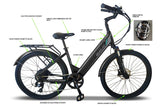 Emojo Panther Pro 500W 48V Hybrid Cruiser Step-Through eBike Black Chart