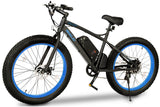 Emojo Wildcat Fat Tire 48V 500W Mountain eBike Black and Blue Left Side