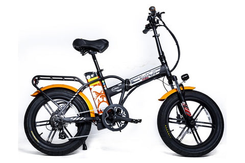 GreenBike - Electric Motion Big Dog Extreme 750W 48V Fat Tire Folding eBike Black and Orange Right Side