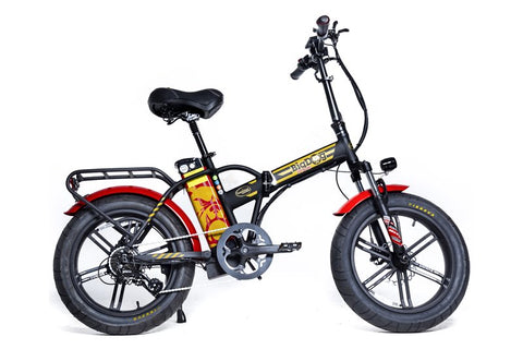 GreenBike - Electric Motion Big Dog Extreme 2021 Edition 750W 48V Fat Tire Folding eBike Black and Red Right Side