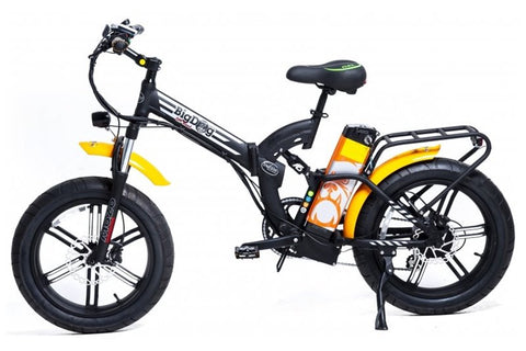 GreenBike - Electric Motion Big Dog Off Road 750W 48V Fat Tire Folding eBike Black and Orange Left Side
