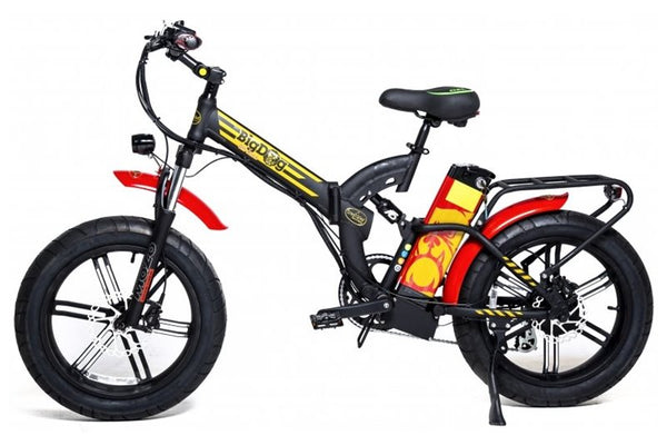 GreenBike - Electric Motion Big Dog Off Road 750W 48V Fat Tire Folding eBike Black and Red Gold Logo Left Side