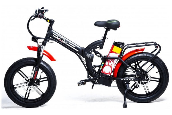 GreenBike - Electric Motion Big Dog Off Road 750W 48V Fat Tire Folding eBike Black and Red Silver Logo Left Side