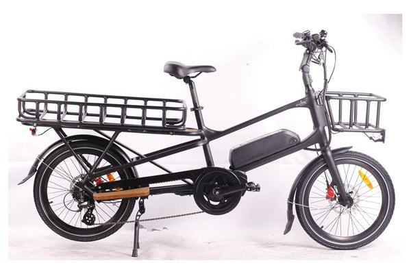 GreenBike - Electric Motion Cargo 500W 48V Mid Drive eBike Black Front and Rear Racks Right Side