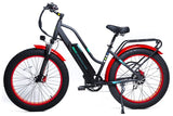 GreenBike - Electric Motion EM26 750W 48V Fat Tire Step-Through Hybrid eBike Red with Black Left Side