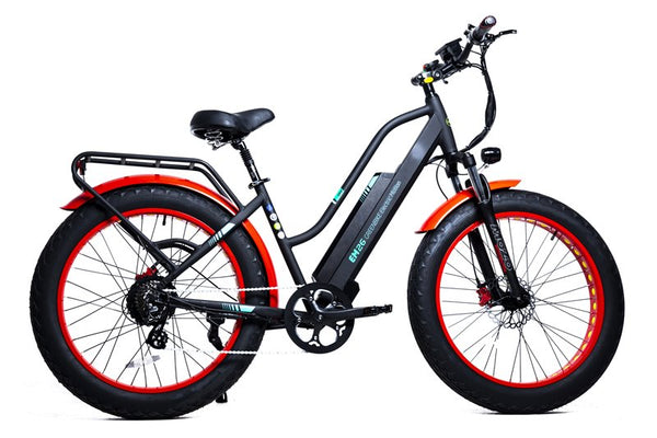 GreenBike - Electric Motion EM26 2021 Edition 750W 48V Fat Tire Step-Through Hybrid eBike Red and Black Right Side
