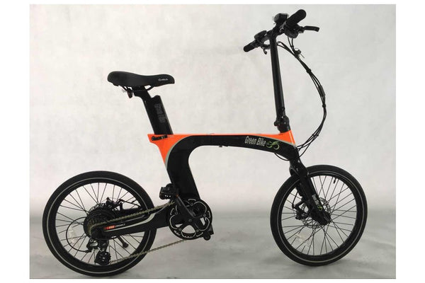 Green Bike USA GB Carbon Light Folding eBike Black and Orange
