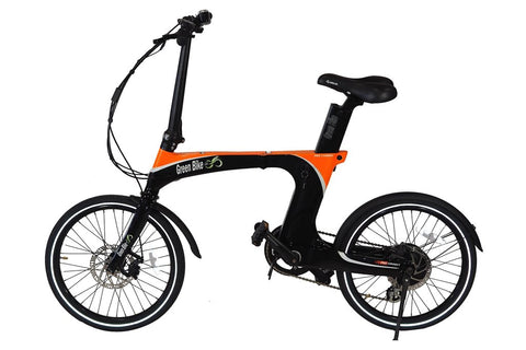Green Bike USA GB Carbon Light Folding eBike Black and Orange Left Side
