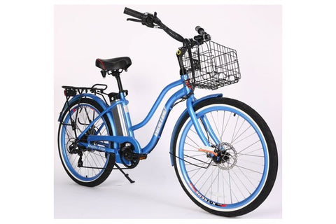 X-Treme Malibu Elite Step-Through Beach Cruiser eBike Baby Blue Right Side Angle