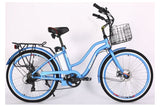 X-Treme Malibu Elite Step-Through Beach Cruiser eBike Baby Blue Right Side