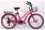 X-Treme Malibu Elite Step-Through Beach Cruiser eBike Pink Right Side