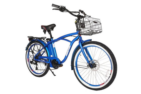 X-Treme Newport Elite Beach Cruiser eBike Metallic Blue Right Side Angle