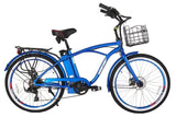 X-Treme Newport Elite Beach Cruiser eBike Metallic Blue Right Side