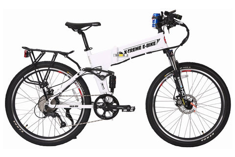 X-Treme Baja 48V 500W Folding Full Suspension Mountain eBike White