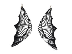 Fan earrings Helix, ladies earrings long and black, 115 mm