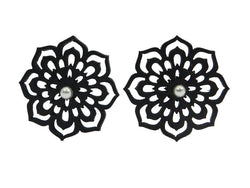 Flower earrings, women's earrings, 28 mm, black and red