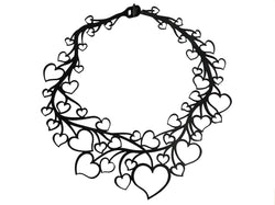 Amore heart chain, ladies necklace, size: 260 mm, black