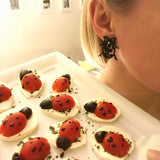 Ladybug Earrings, Women's Earrings, Length: 28mm, Black & Red