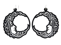 Moon earrings, women's earrings, width: 60 mm