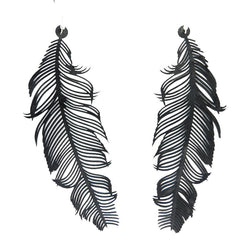 Feather Earrings Long Black