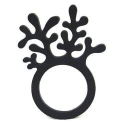 Coral ring, ladies ring, sizes: 50, 53, 57, black & red