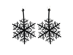 Snowflake Earrings, Women's Earrings, Length: 85mm, Black, Cream & Red