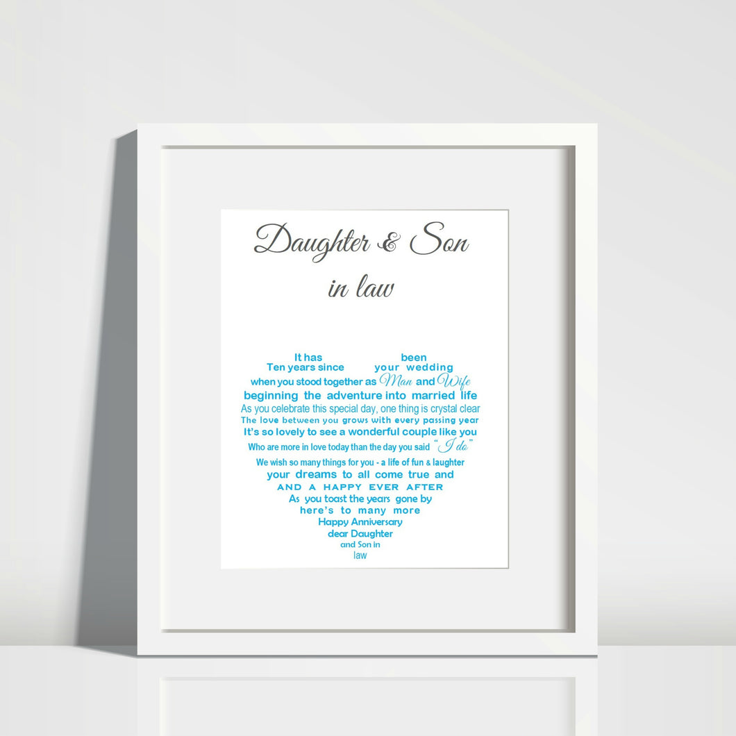 Daughter Anniversary Gift - Daughter & Son in law personalised gift
