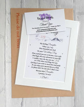 Memorial Gift - Father of the Bride to his Daughter (Unframed print)