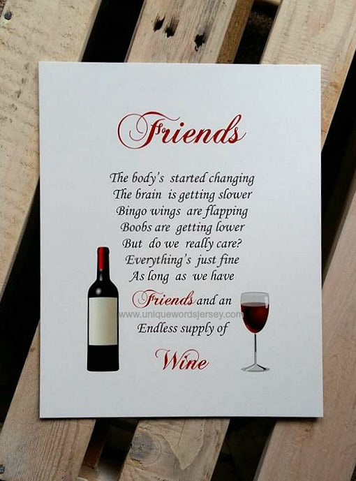 Friend Gift - Unframed wine Print to fit 10x8