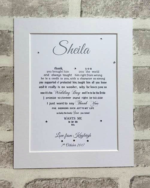 Mother of the Groom gift from Bride - 10x8 framed poem – Unique ...