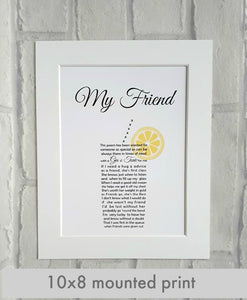 Friend Gin and Tonic Gift - Unframed Personalised Print
