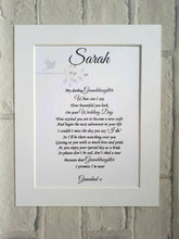 Wedding gift from Father to his Daughter on her wedding day, memorial gift - unframed / mounted 10x8 poem