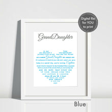 Granddaughter 18th Gift - Unframed Personalised Print