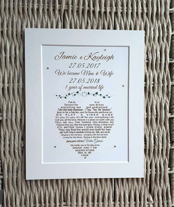Husband Gift - Wife Gift - Unframed Wedding Song print