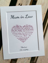 Mother of the Groom gift from Bride - 10x8 unframed / mounted poem