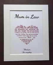 Mother of the Groom gift from Bride - 10x8 framed poem