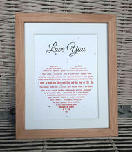 Husband Gift  - Wife Gift - Framed Personalised Print