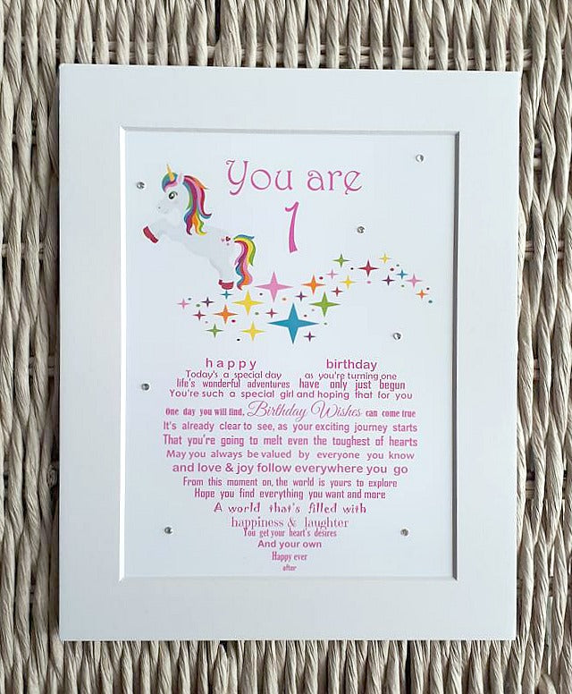 First Birthday Keepsake - 1st Birthday Gift for a little Girl - Unframed 10x8 print