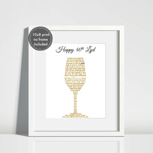 Prosecco Gift for 30th, 40th, 50th, 60th Birthday - Unframed Personalised Print