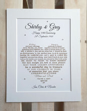 Wedding Anniversary gift - Unframed Personalised Print