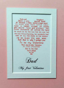 Valentine Gift for Dad - unframed