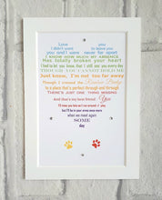 Pet loss gift - Sympathy gift for the loss of a beloved pet - Rainbow Bridge  poem